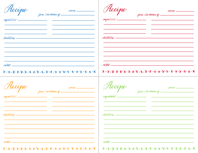 This is an image of Fan Printable Recipe Cards