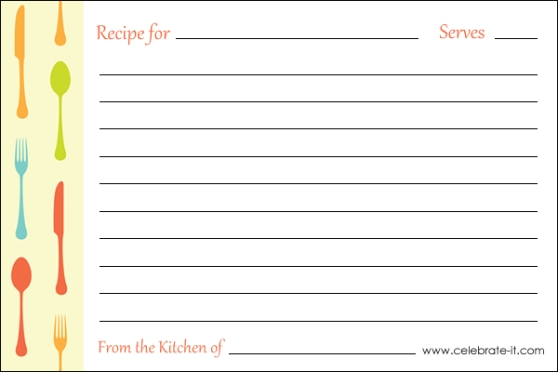 Custom Card Template » Recipe Card Template Free Editable - Free